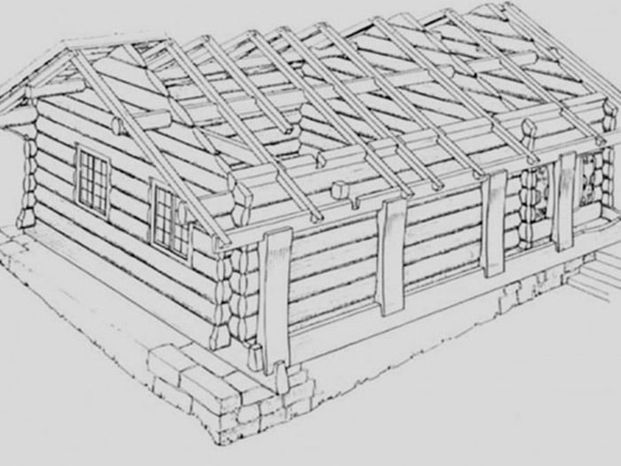 design sketch of log home with partial roof rafters exposed
