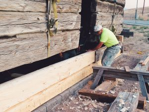 log structure restoration, adding two bottom courses
