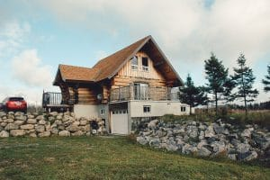 a two story modern log home