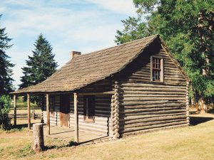 historic log cabin located inside Lewis and Clark State Park in Washington