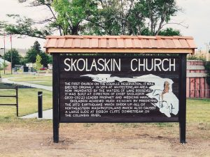 information board of the Skolaskin church