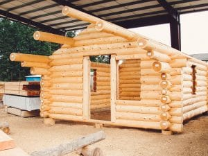 log cabin shell without roofing