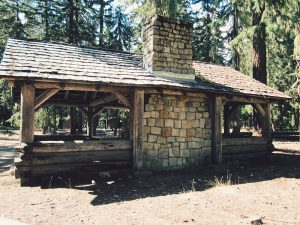 Rear view of a Civilian Conservation Corps picnic shelter