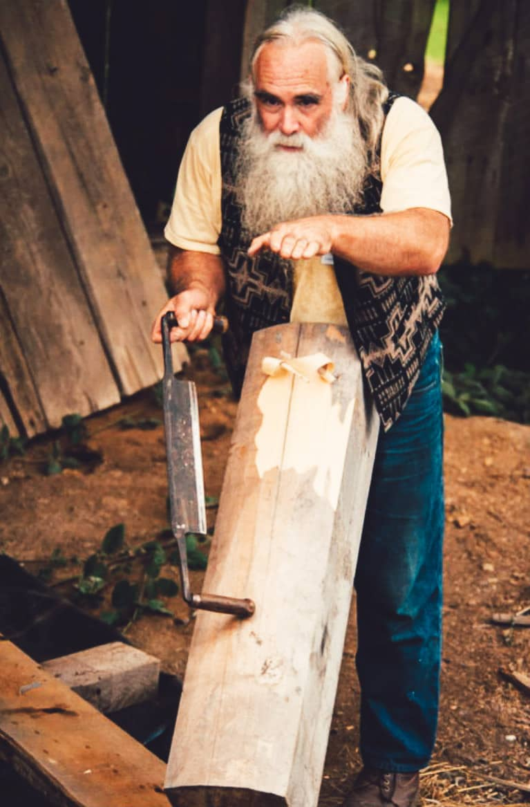 David Rogers demonstrating old school log planer